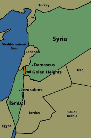 Map of Israel and Syria