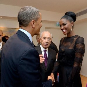Miss Israel Yityish Aynaw Meets President Obama in Israel