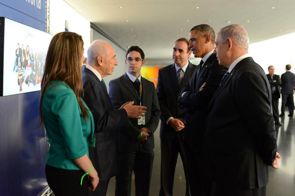 Obama in Israel with Netanyahu and Shimon Peres