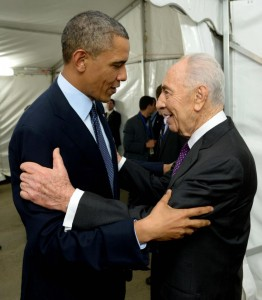 Shimon Peres and Barack Obama in Israel