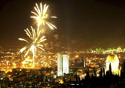 Haifa celebrating Israel Independence Day with Fireworks