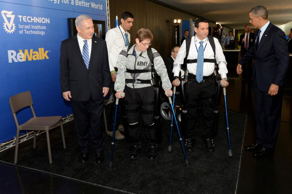 Obama in Israel with Bibi Seeing Rewalk Technology